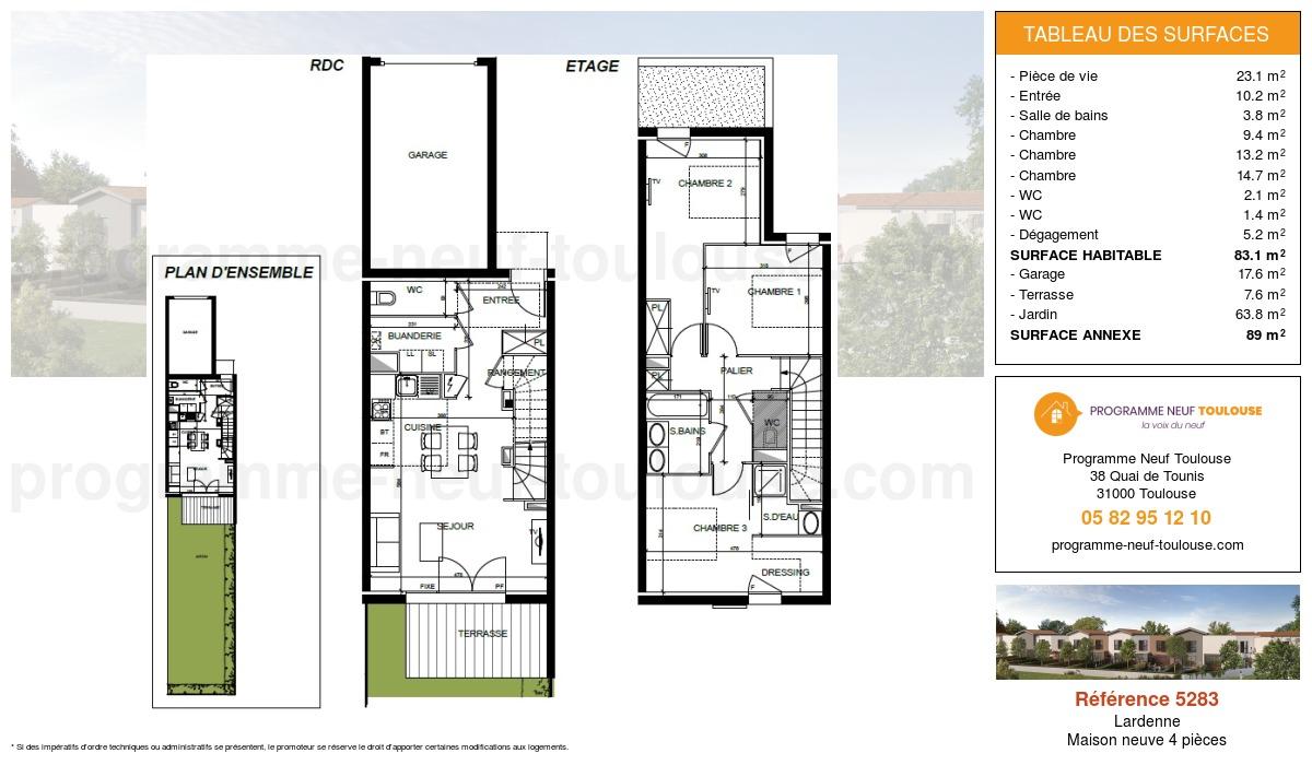 Plan pour un Maison neuve de  83.1m² à Lardenne