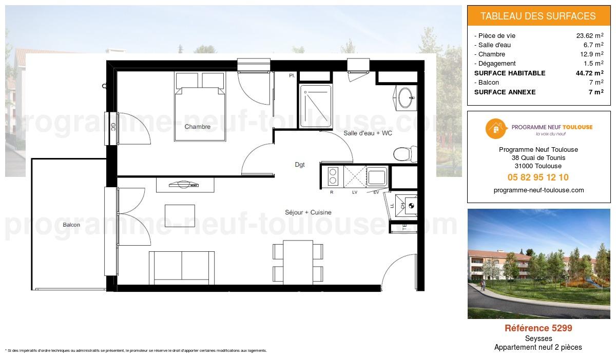 Plan pour un Appartement neuf de  44.72m² à Seysses