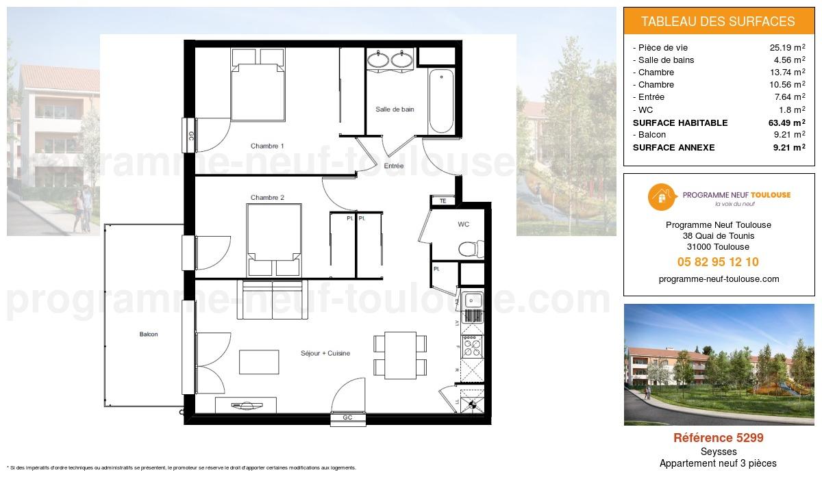 Plan pour un Appartement neuf de  63.49m² à Seysses