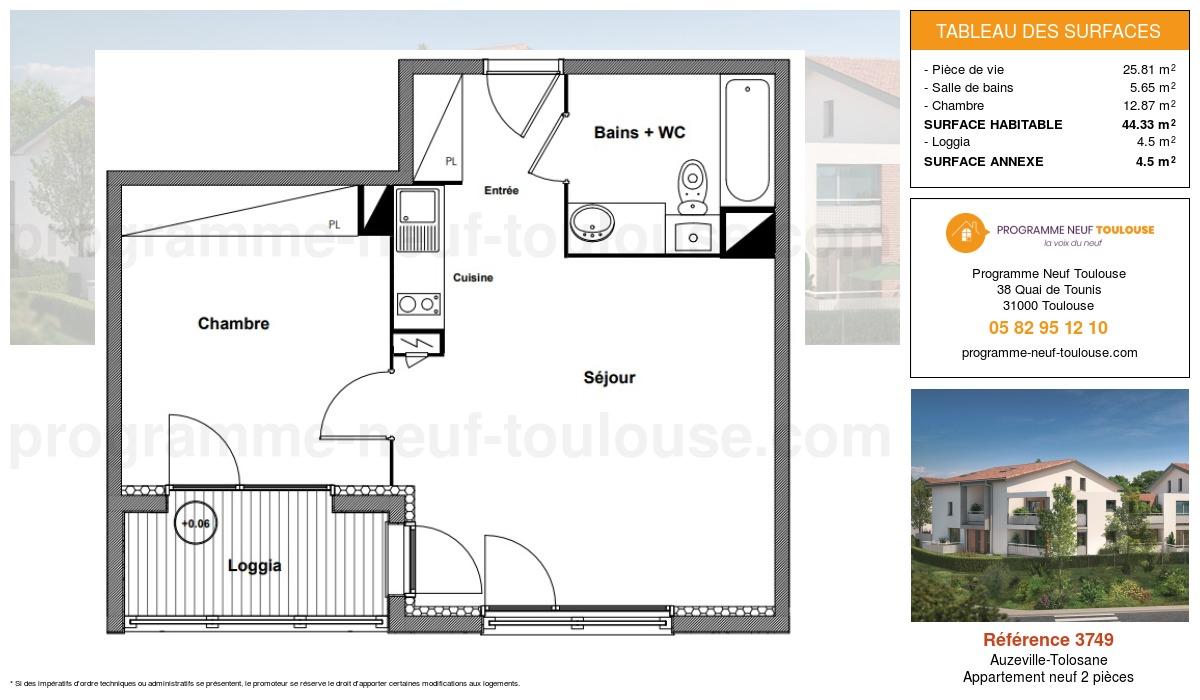 Plan pour un Appartement neuf de  44.33m² à Auzeville-Tolosane