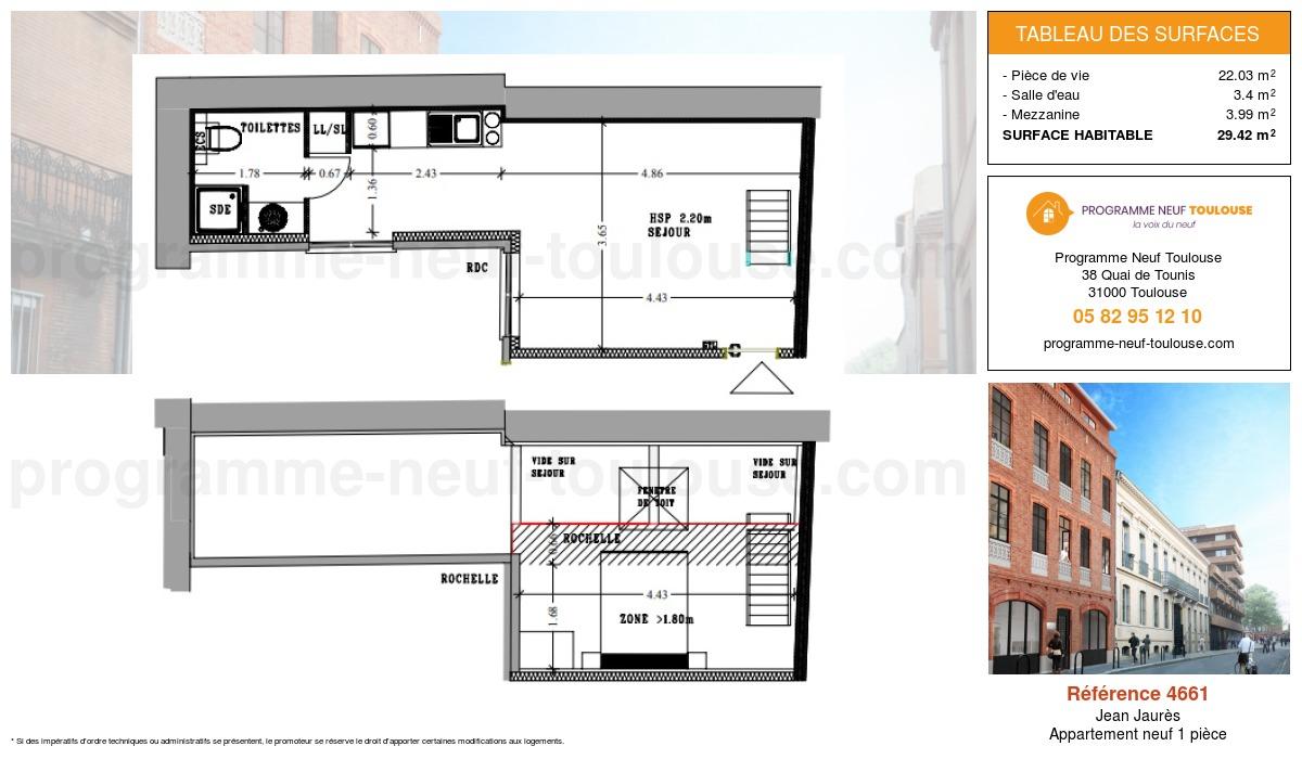 Plan pour un Appartement neuf de  29.42m² à Jean Jaurès