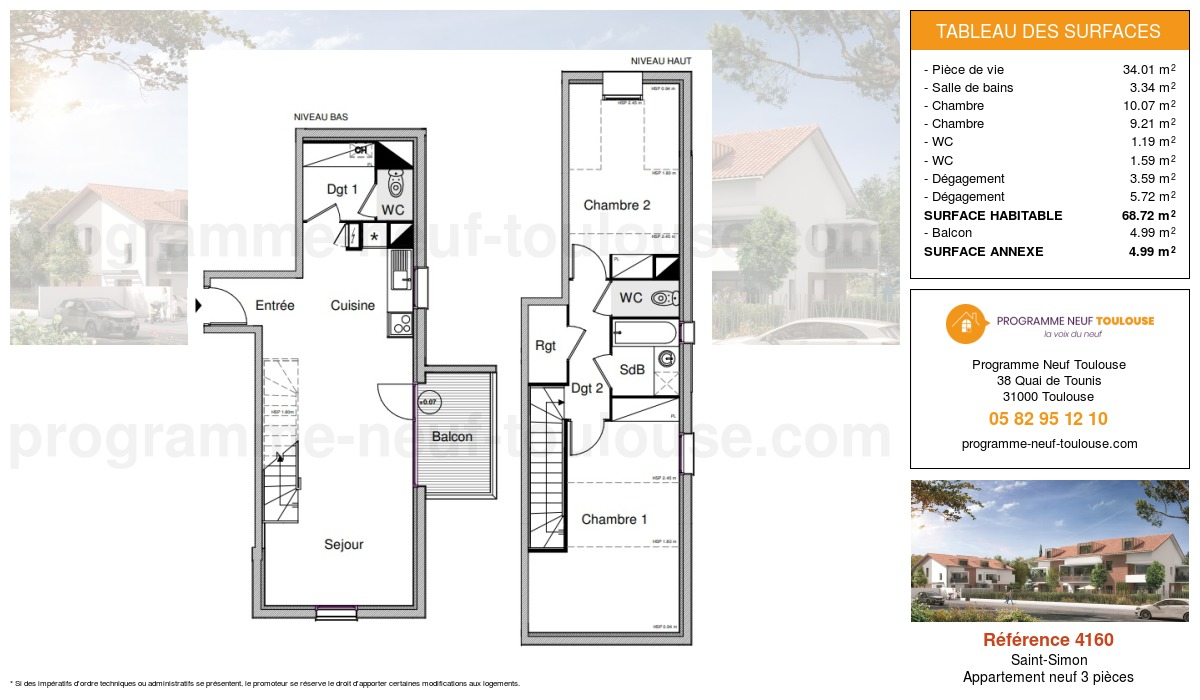 Plan pour un Appartement neuf de  68.72m² à Saint-Simon