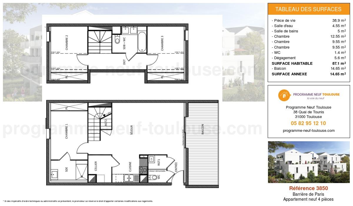 Plan pour un Appartement neuf de  87.1m² à Barrière de Paris