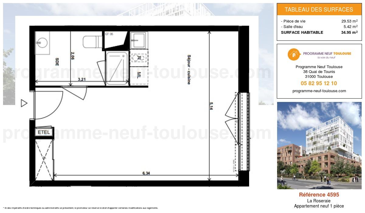 Plan pour un Appartement neuf de  34.95m² à La Roseraie