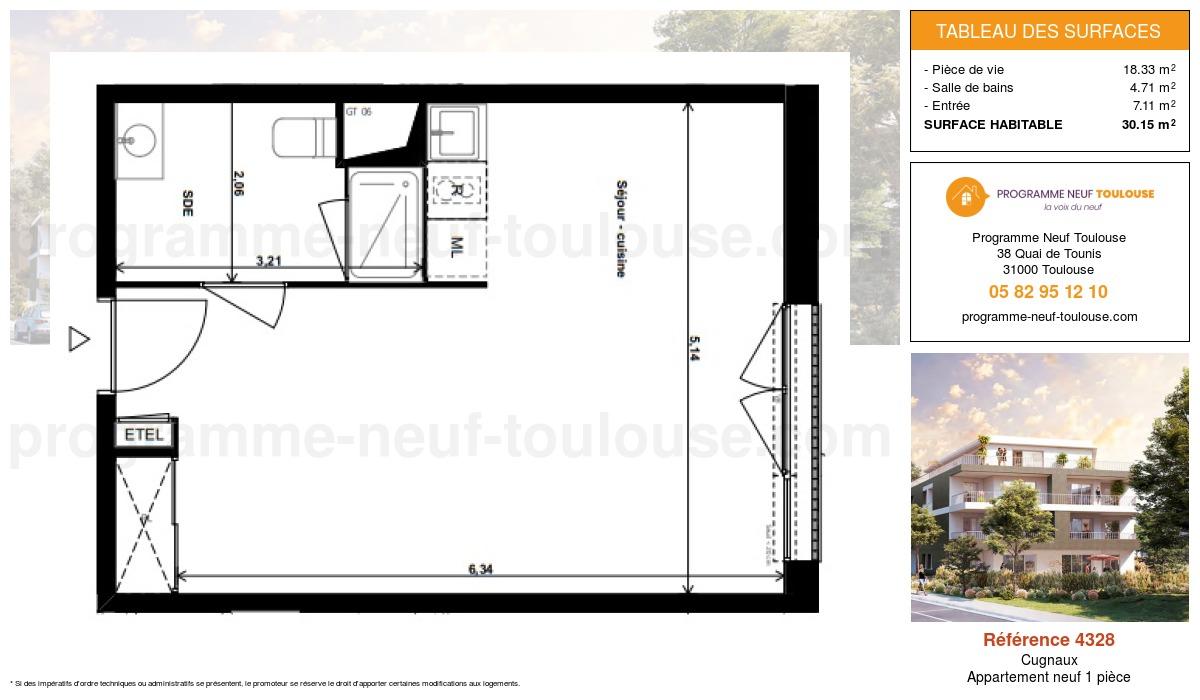 Plan pour un Appartement neuf de  30.15m² à Cugnaux