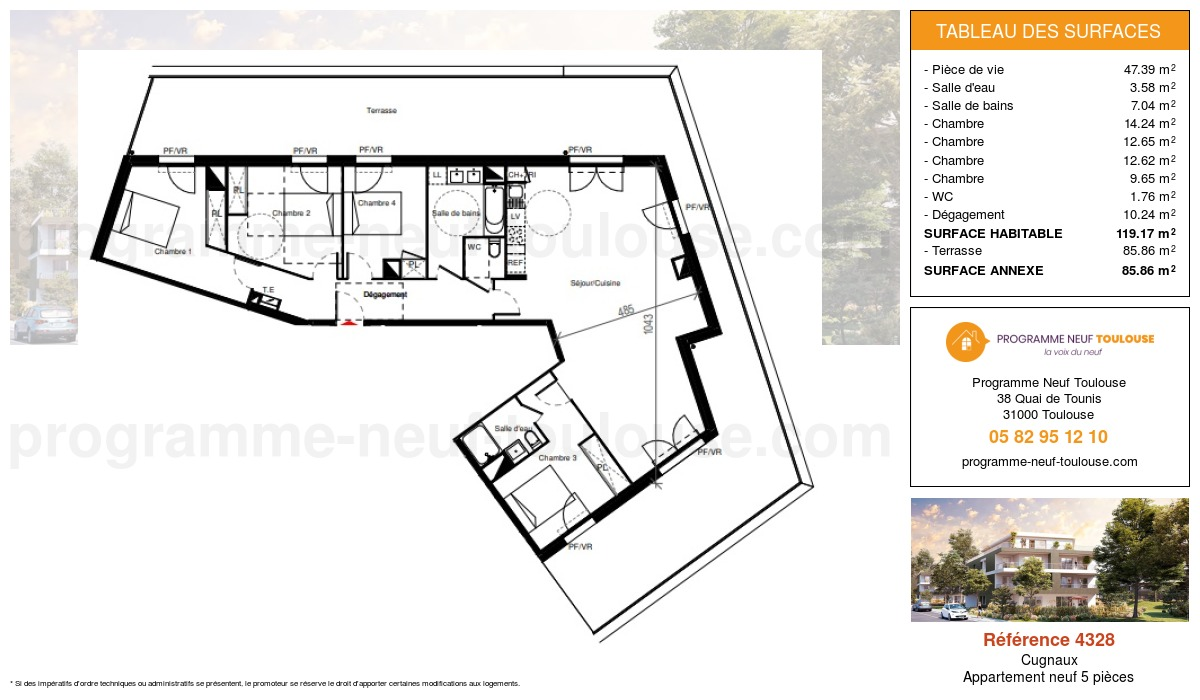 Plan pour un Appartement neuf de  119.17m² à Cugnaux