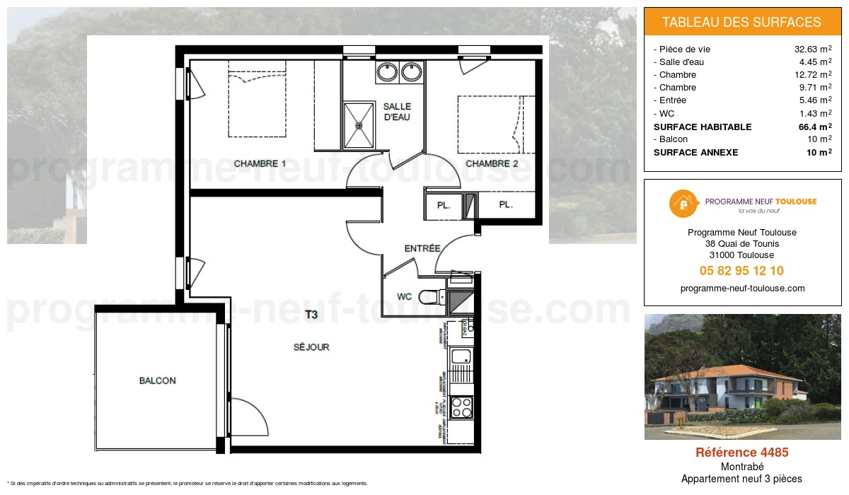 Plan pour un Appartement neuf de  66.4m² à Montrabé
