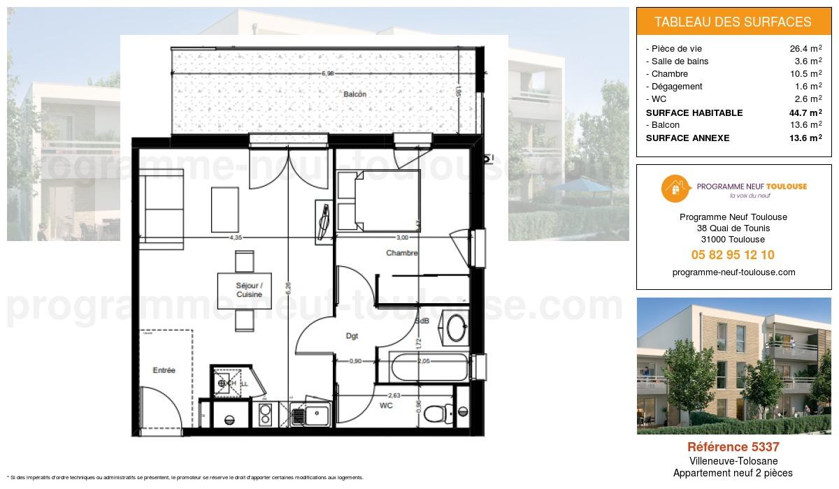 Plan pour un Appartement neuf de  44.7m² à Villeneuve-Tolosane