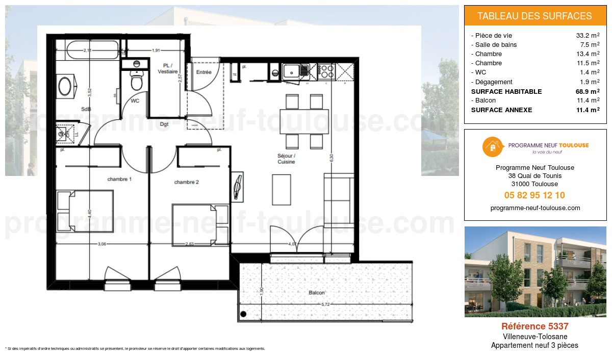 Plan pour un Appartement neuf de  68.9m² à Villeneuve-Tolosane