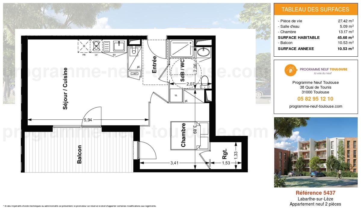 Plan pour un Appartement neuf de  45.68m² à Labarthe-sur-Lèze