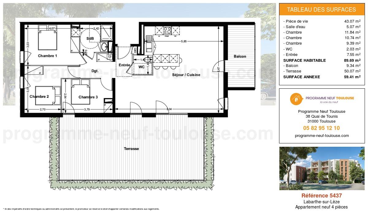 Plan pour un Appartement neuf de  89.69m² à Labarthe-sur-Lèze