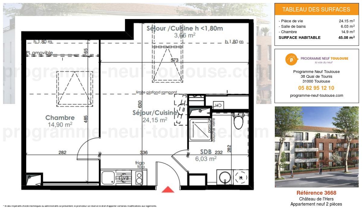 Plan pour un Appartement neuf de  45.08m² à Château de l'Hers