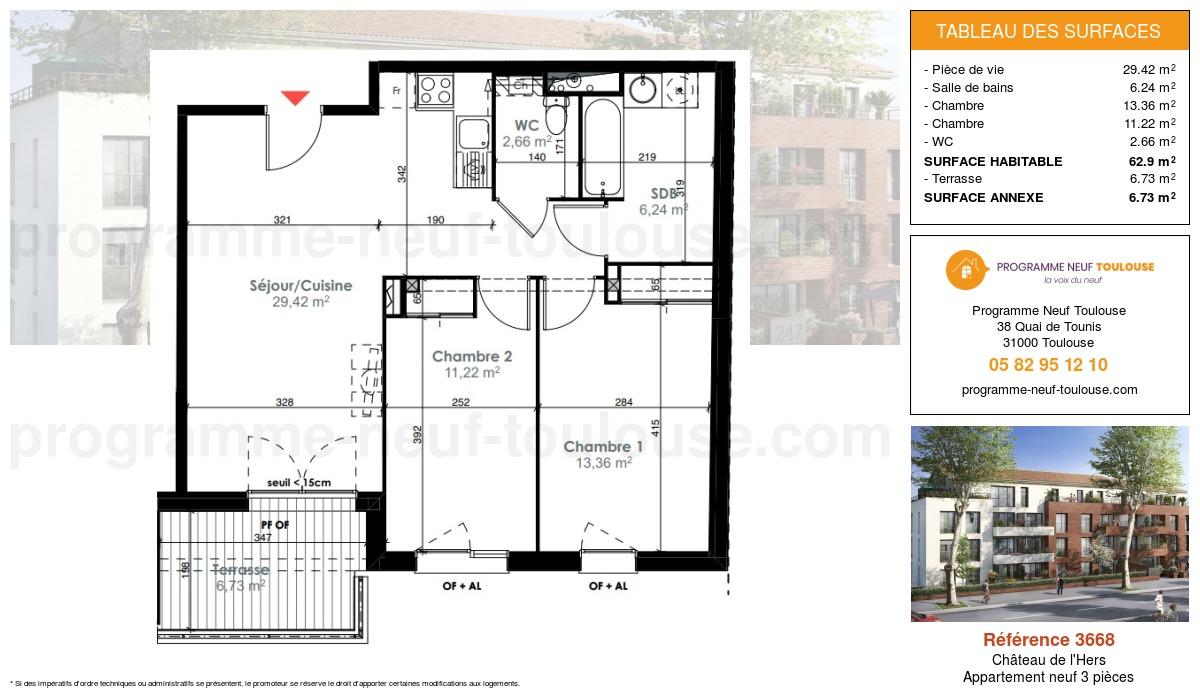 Plan pour un Appartement neuf de  62.9m² à Château de l'Hers