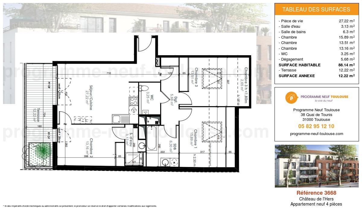 Plan pour un Appartement neuf de  88.14m² à Château de l'Hers