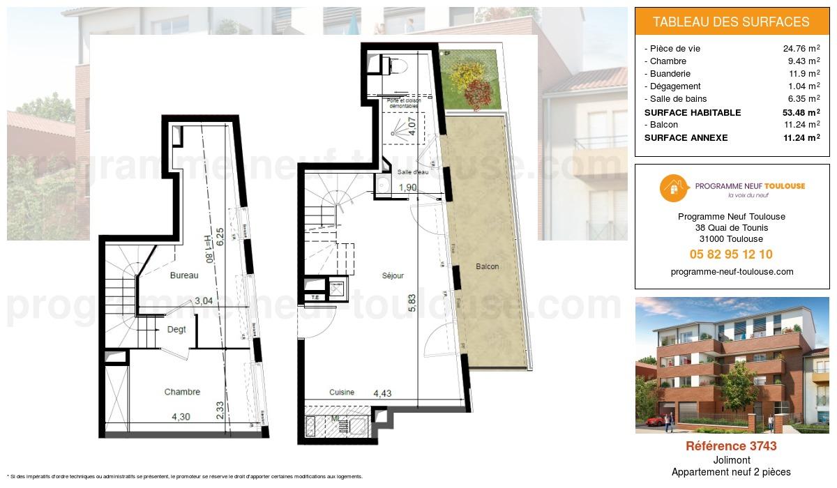 Plan pour un Appartement neuf de  53.48m² à Jolimont