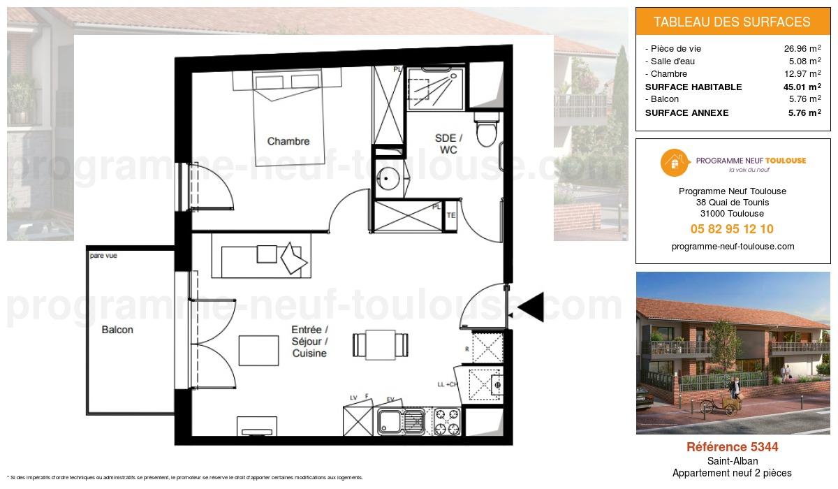 Plan pour un Appartement neuf de  45.01m² à Saint-Alban