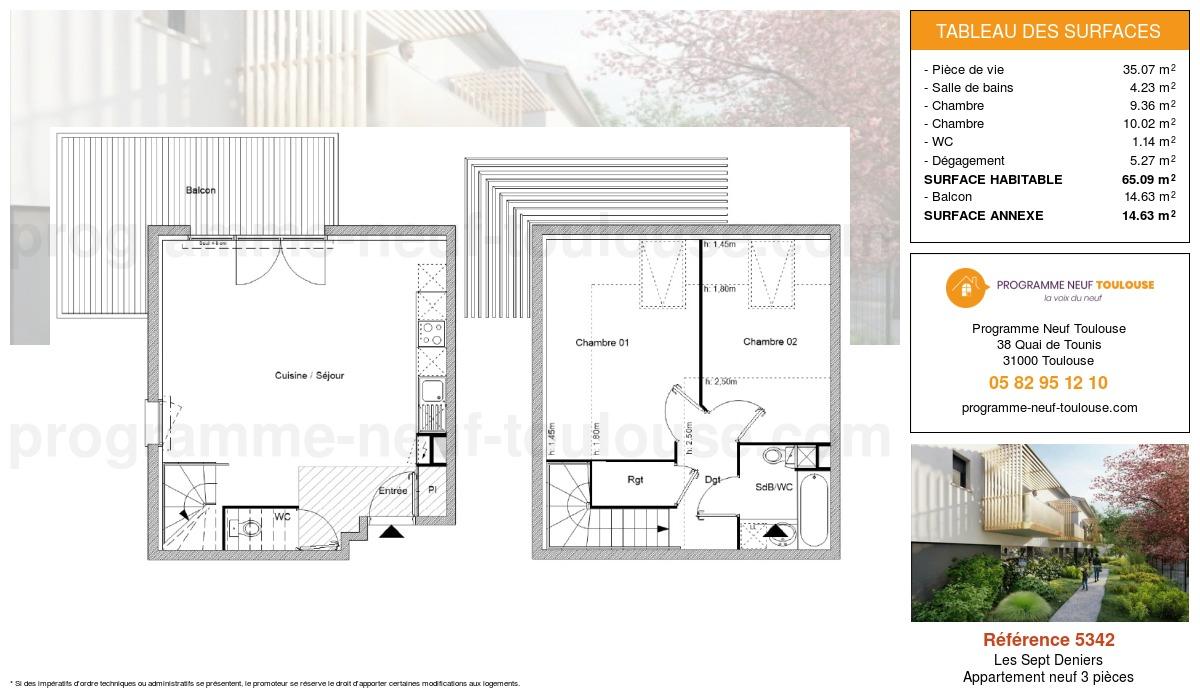 Plan pour un Appartement neuf de  65.09m² à Les Sept Deniers