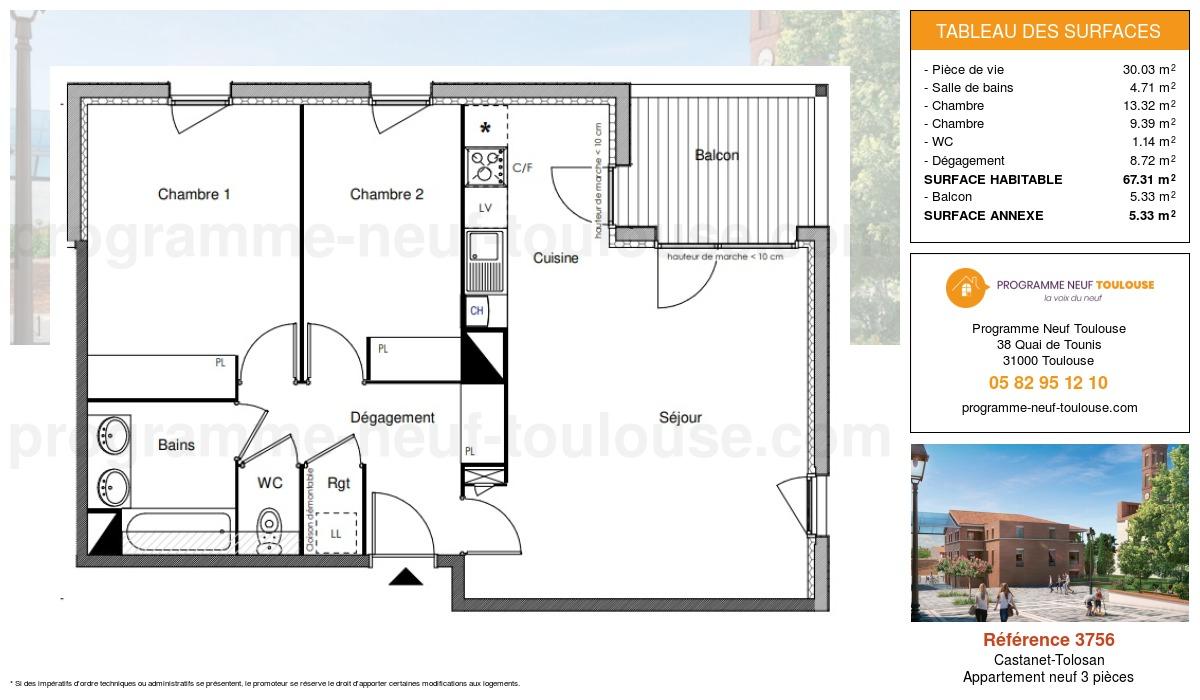 Plan pour un Appartement neuf de  67.31m² à Castanet-Tolosan
