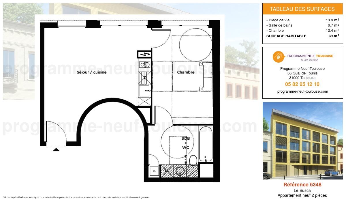 Plan pour un Appartement neuf de  39m² à Le Busca
