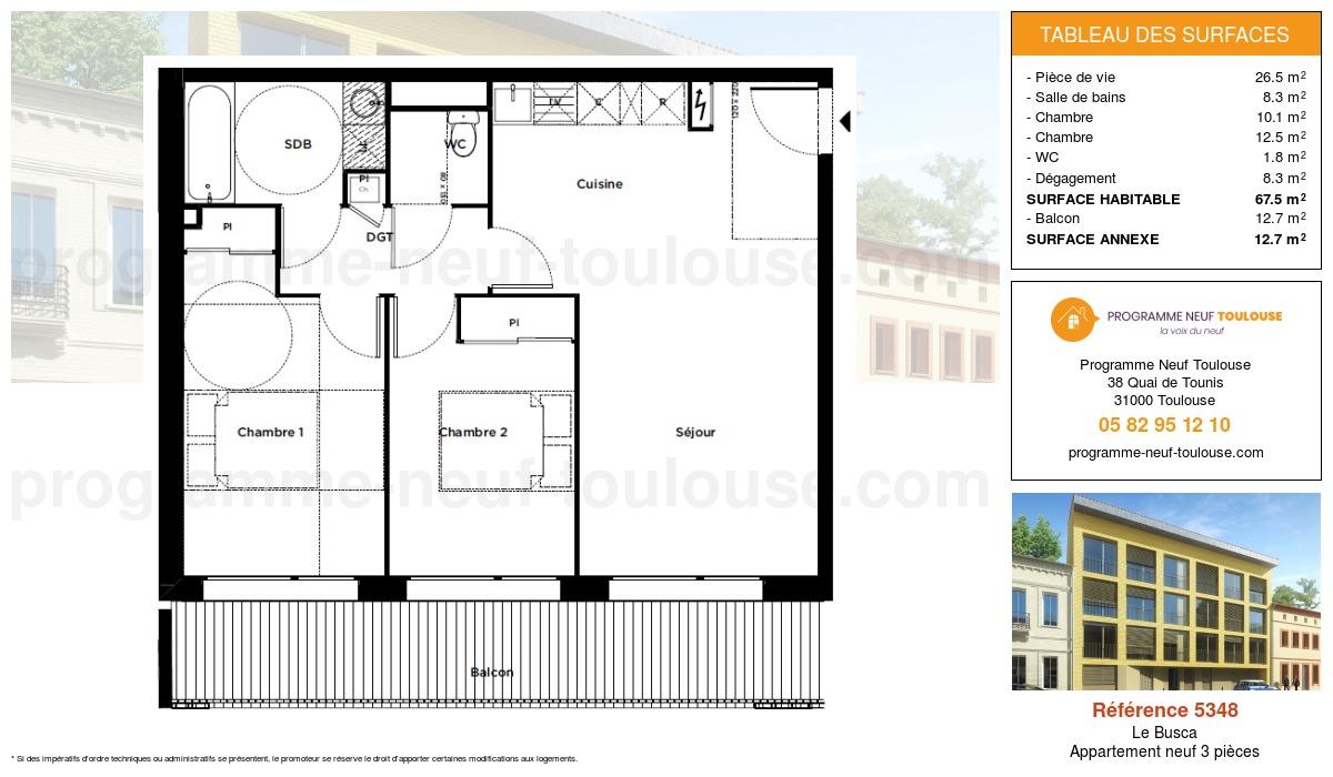 Plan pour un Appartement neuf de  67.5m² à Le Busca