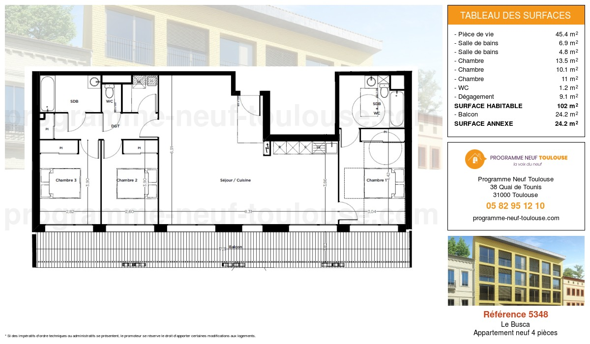 Plan pour un Appartement neuf de  102m² à Le Busca