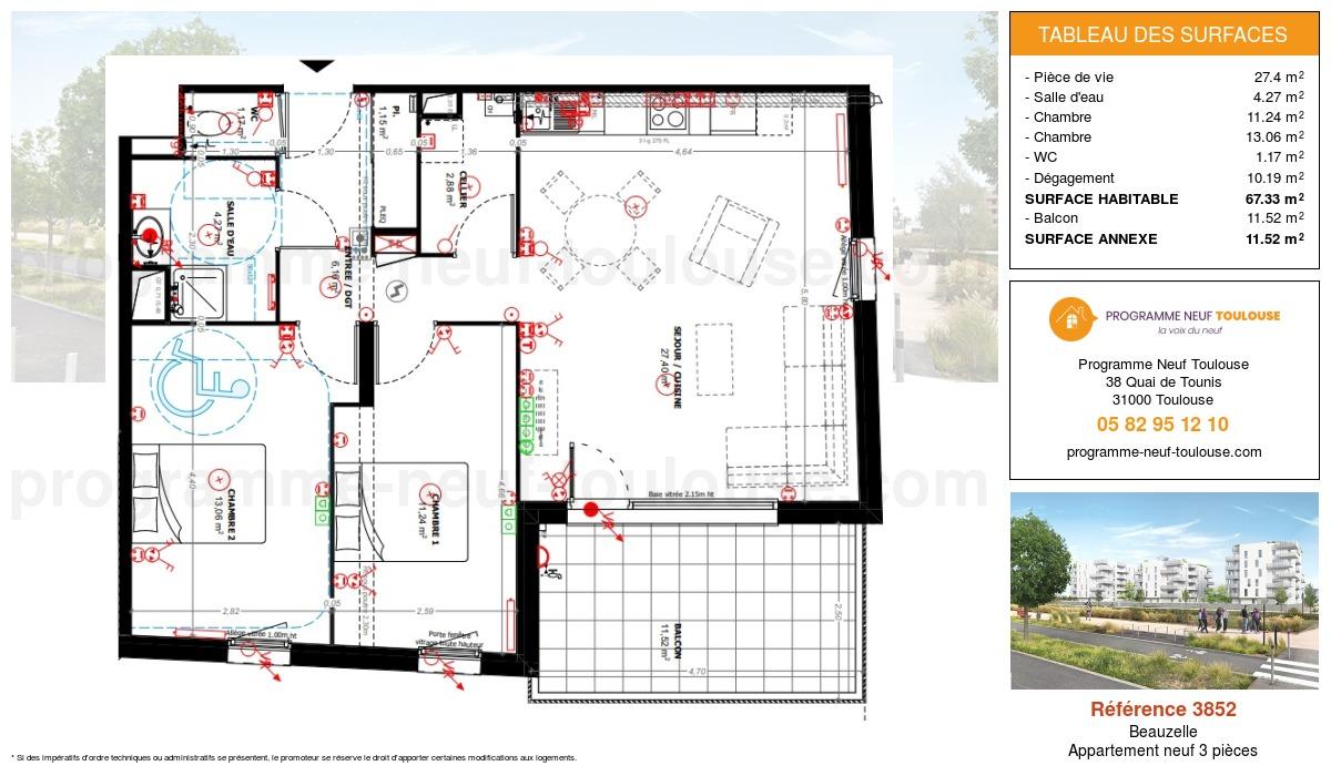 Plan pour un Appartement neuf de  67.33m² à Beauzelle