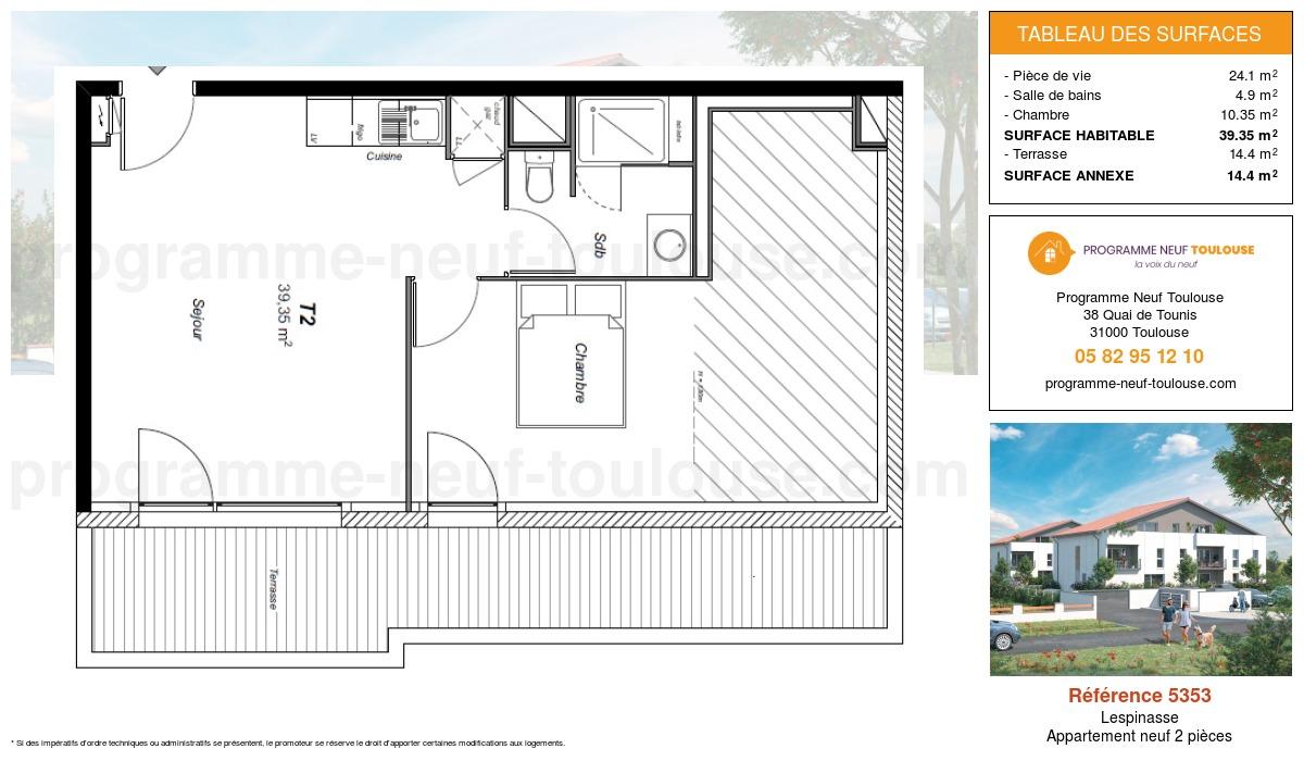 Plan pour un Appartement neuf de  39.35m² à Lespinasse