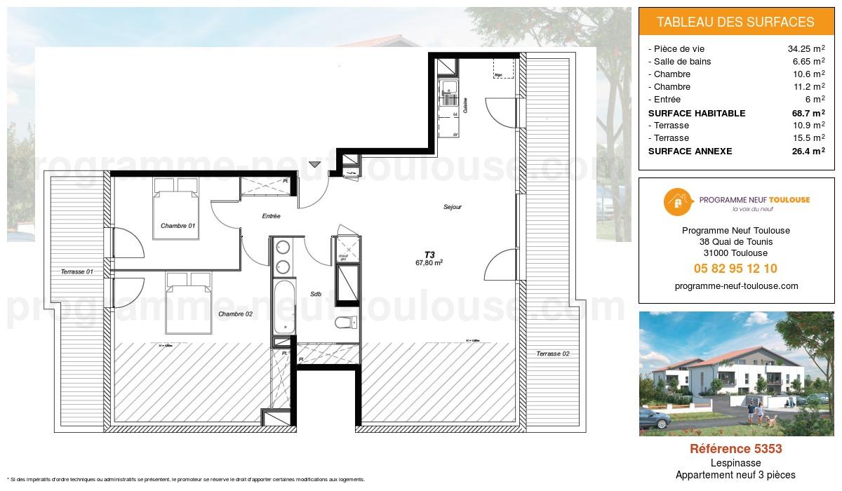 Plan pour un Appartement neuf de  68.7m² à Lespinasse