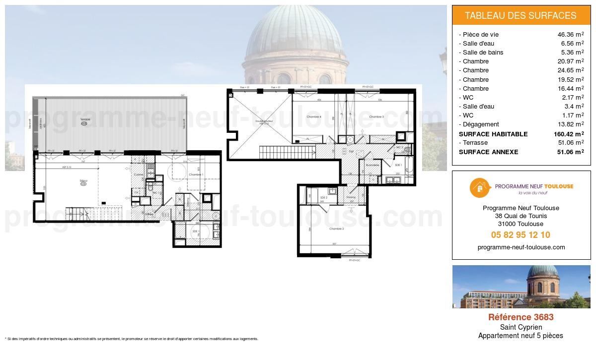 Plan pour un Appartement neuf de  160.42m² à Saint Cyprien