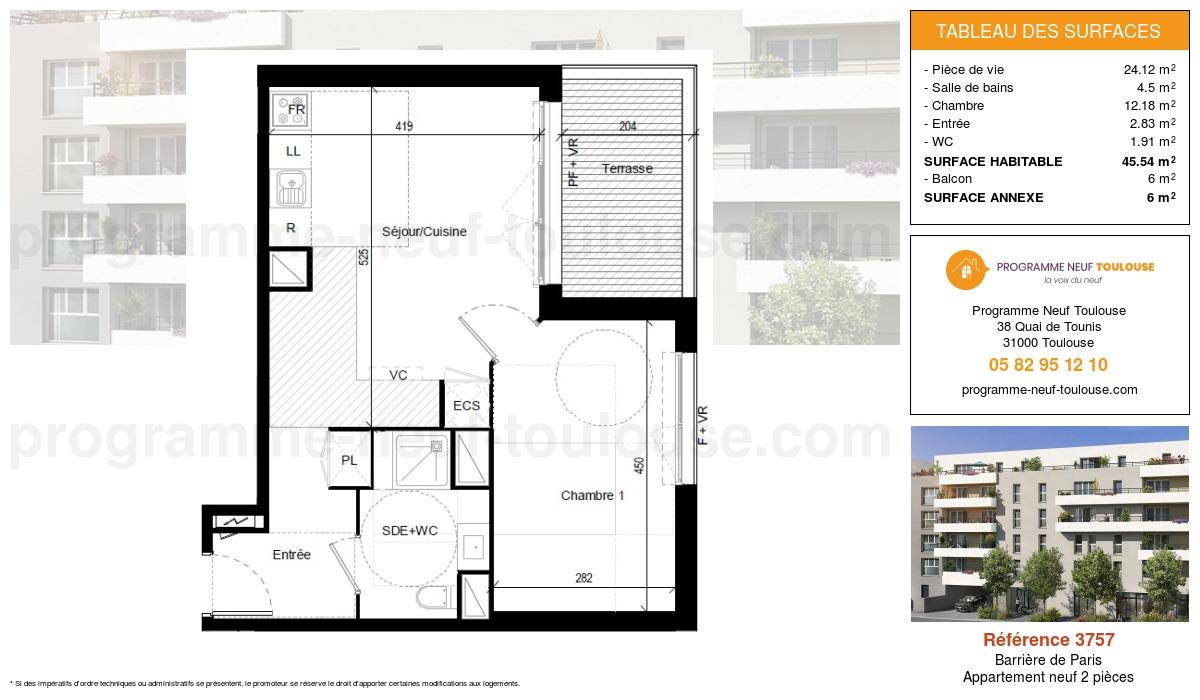 Plan pour un Appartement neuf de  45.54m² à Barrière de Paris