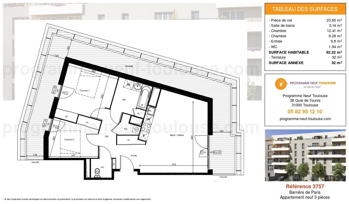 Plan pour un Appartement neuf de  62.22m² à Barrière de Paris