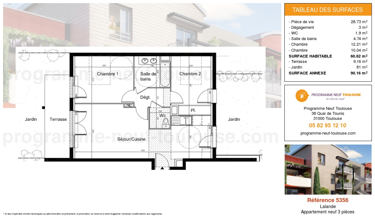 Plan pour un Appartement neuf de  60.62m² à Lalande