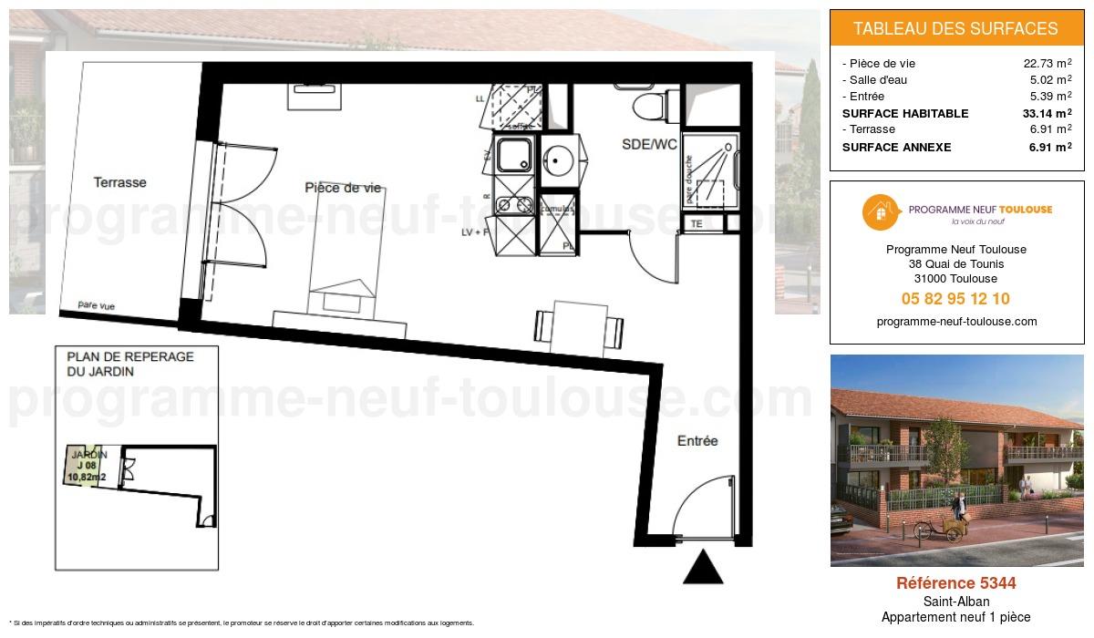 Plan pour un Appartement neuf de  33.14m² à Saint-Alban