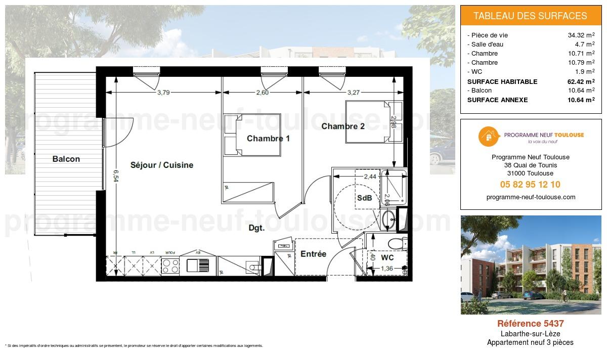 Plan pour un Appartement neuf de  62.42m² à Labarthe-sur-Lèze