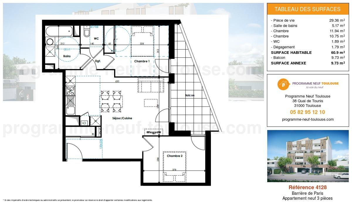 Plan pour un Appartement neuf de  60.9m² à Barrière de Paris