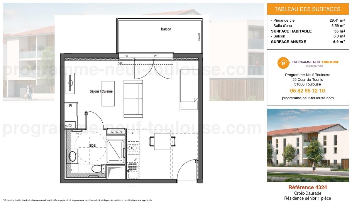 Plan pour un Résidence sénior LMNP de  35.25m² à Croix-Daurade