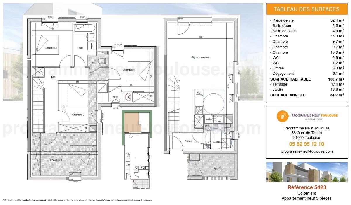 Plan pour un Appartement neuf de  100.7m² à Colomiers