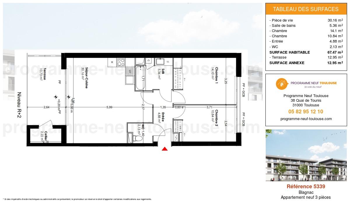 Plan pour un Appartement neuf de  67.47m² à Blagnac