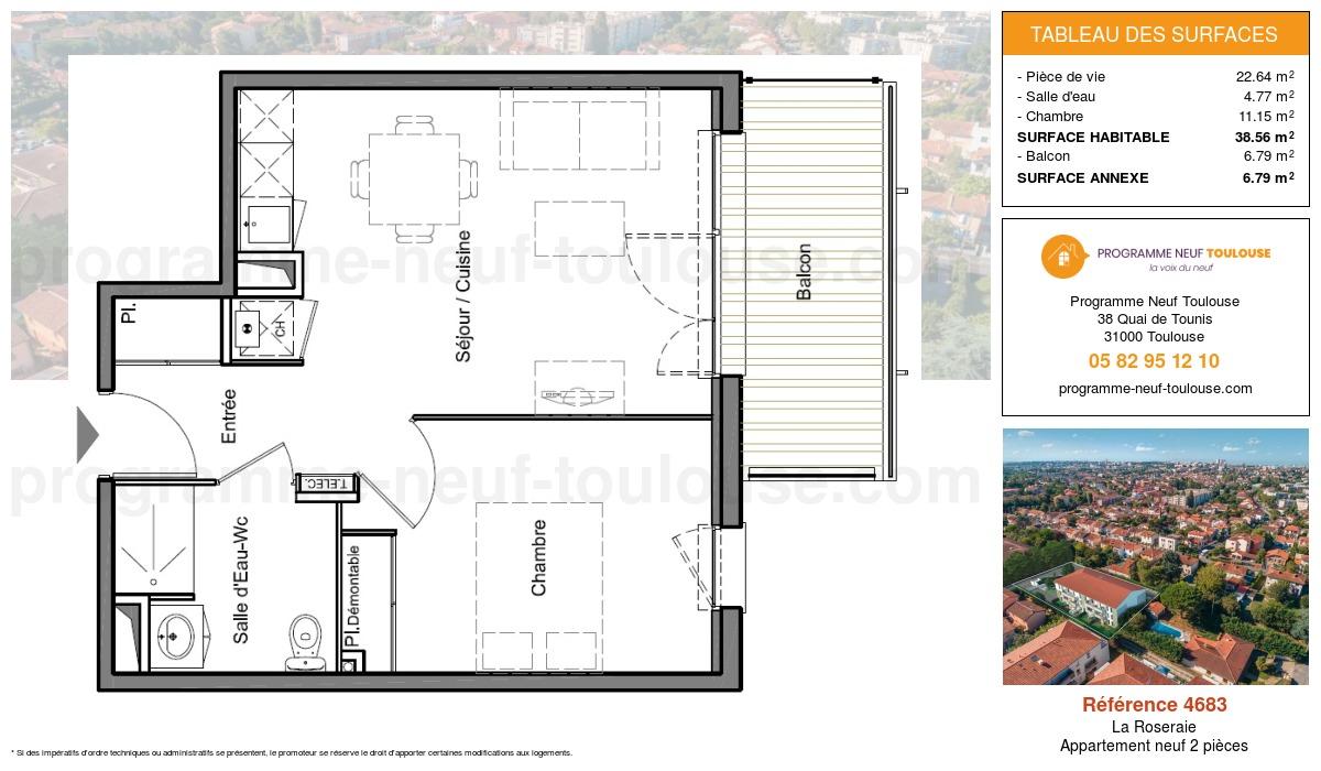 Plan pour un Appartement neuf de  38.56m² à La Roseraie