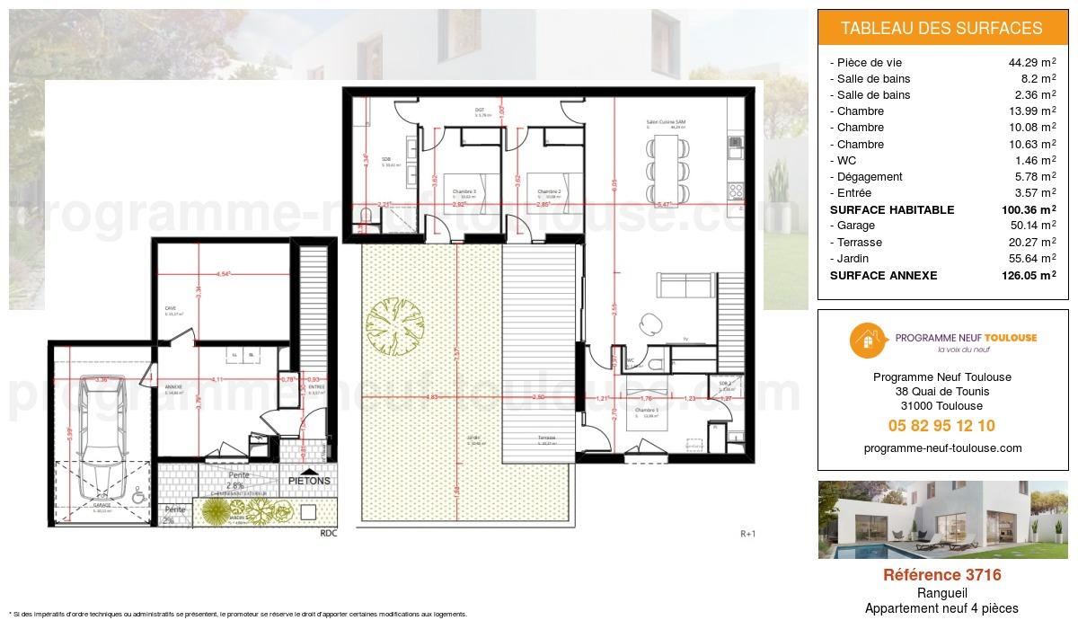 Plan pour un Appartement neuf de  100.36m² à Rangueil