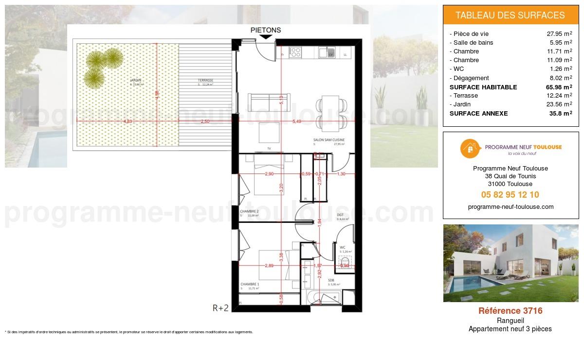 Plan pour un Appartement neuf de  65.98m² à Rangueil