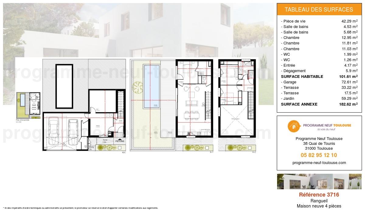 Plan pour un Maison neuve de  101.61m² à Rangueil