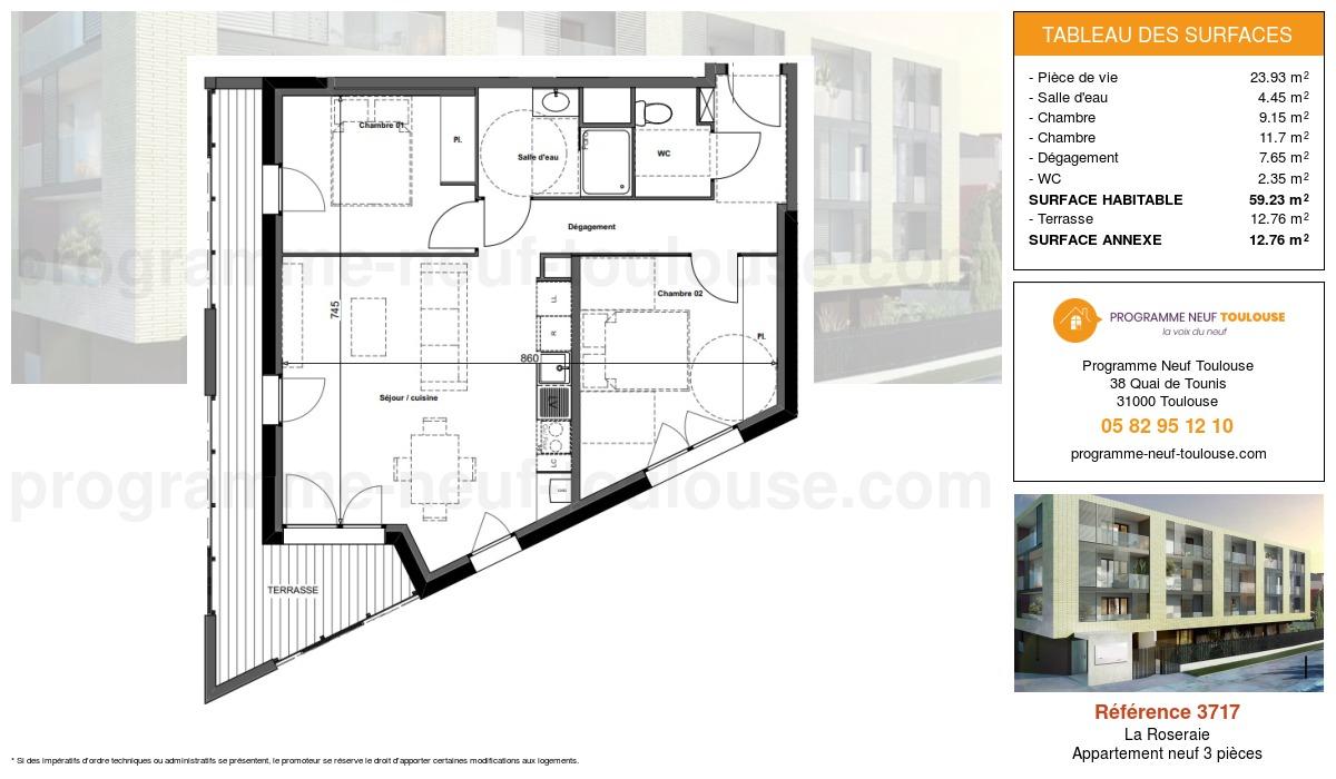 Plan pour un Appartement neuf de  59.23m² à La Roseraie