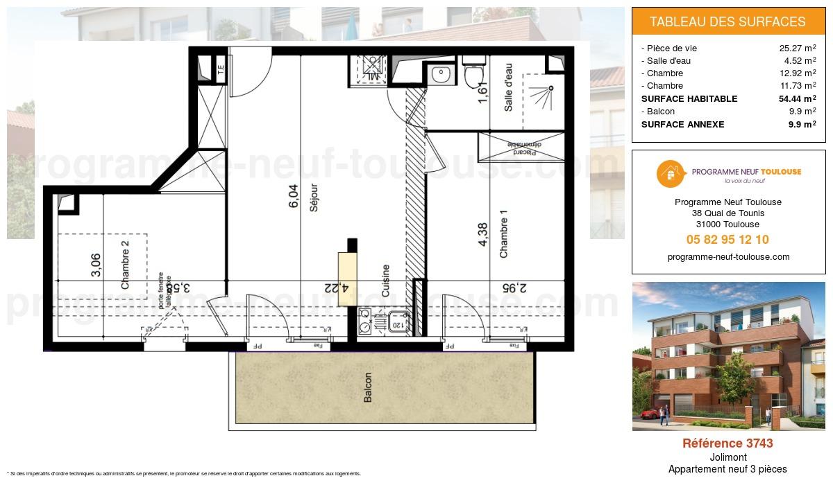 Plan pour un Appartement neuf de  54.44m² à Jolimont