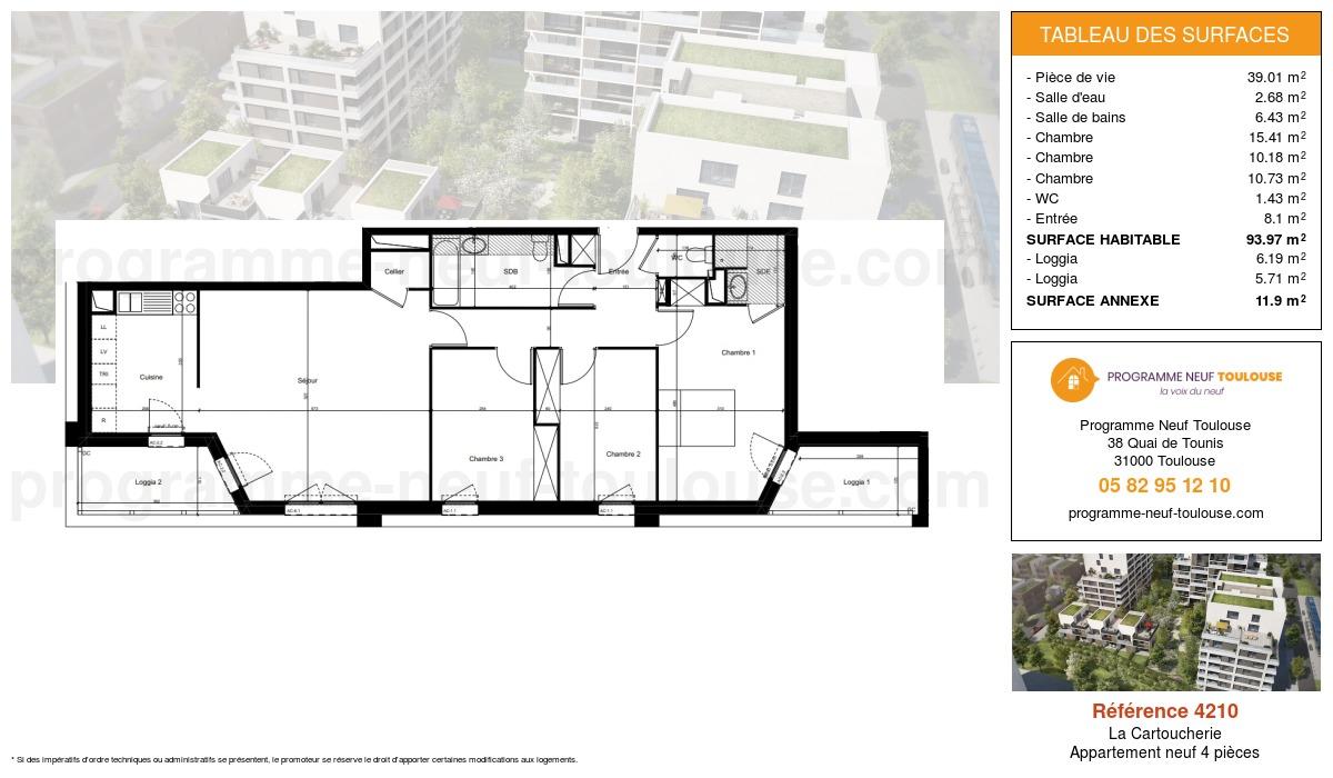 Plan pour un Appartement neuf de  93.97m² à Purpan