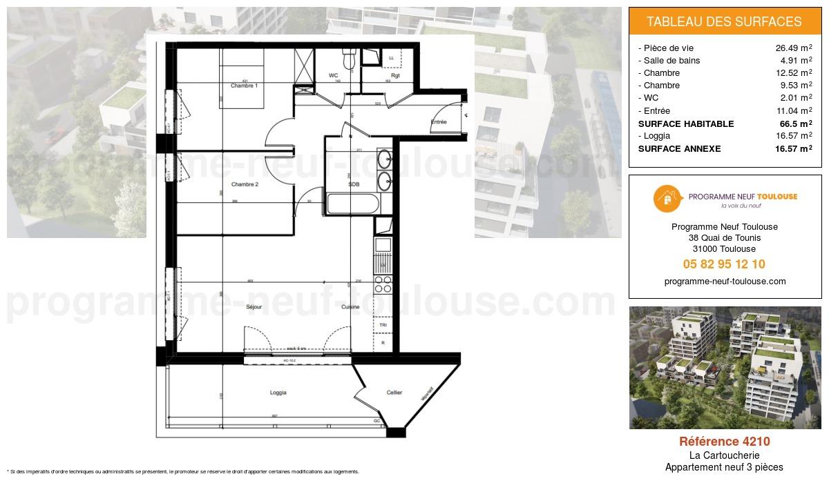 Plan pour un Appartement neuf de  66.5m² à Purpan