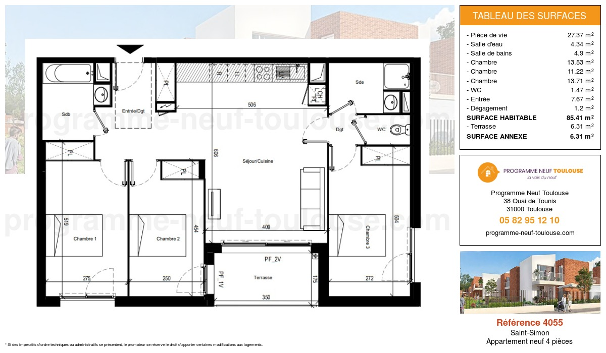 Plan pour un Appartement neuf de  85.41m² à Saint-Simon