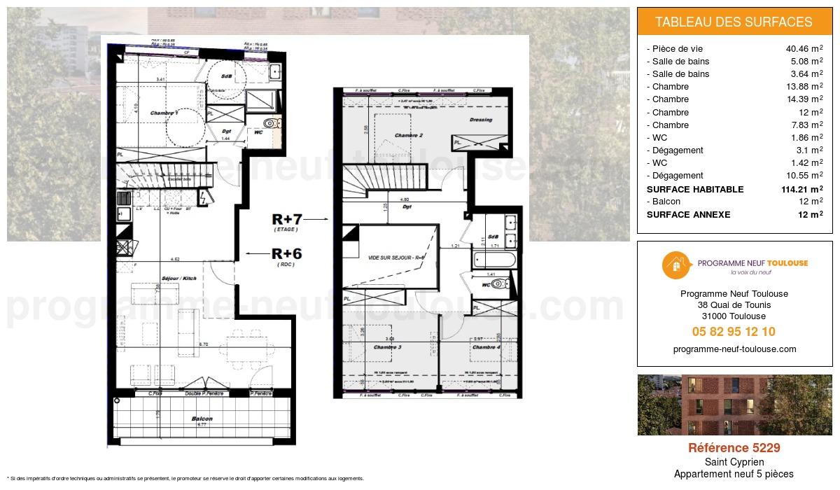 Plan pour un Appartement neuf de  114.21m² à Saint Cyprien