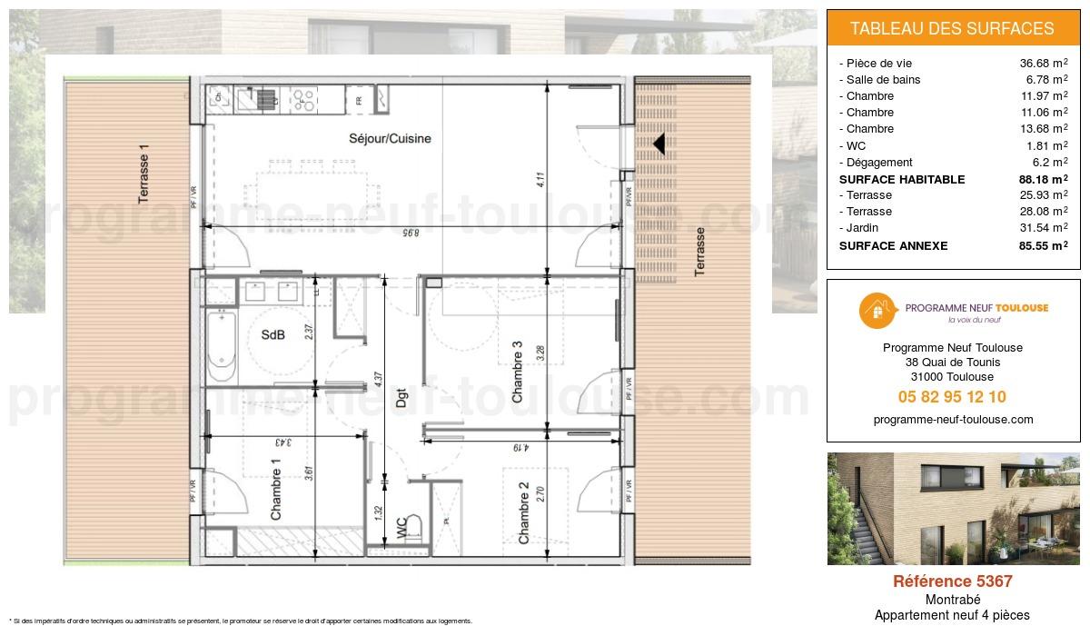 Plan pour un Appartement neuf de  88.18m² à Montrabé