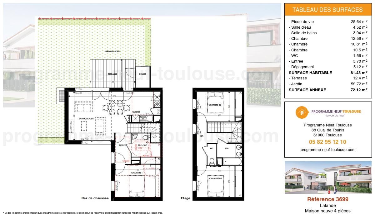 Plan pour un Maison neuve de  81.43m² à Lalande